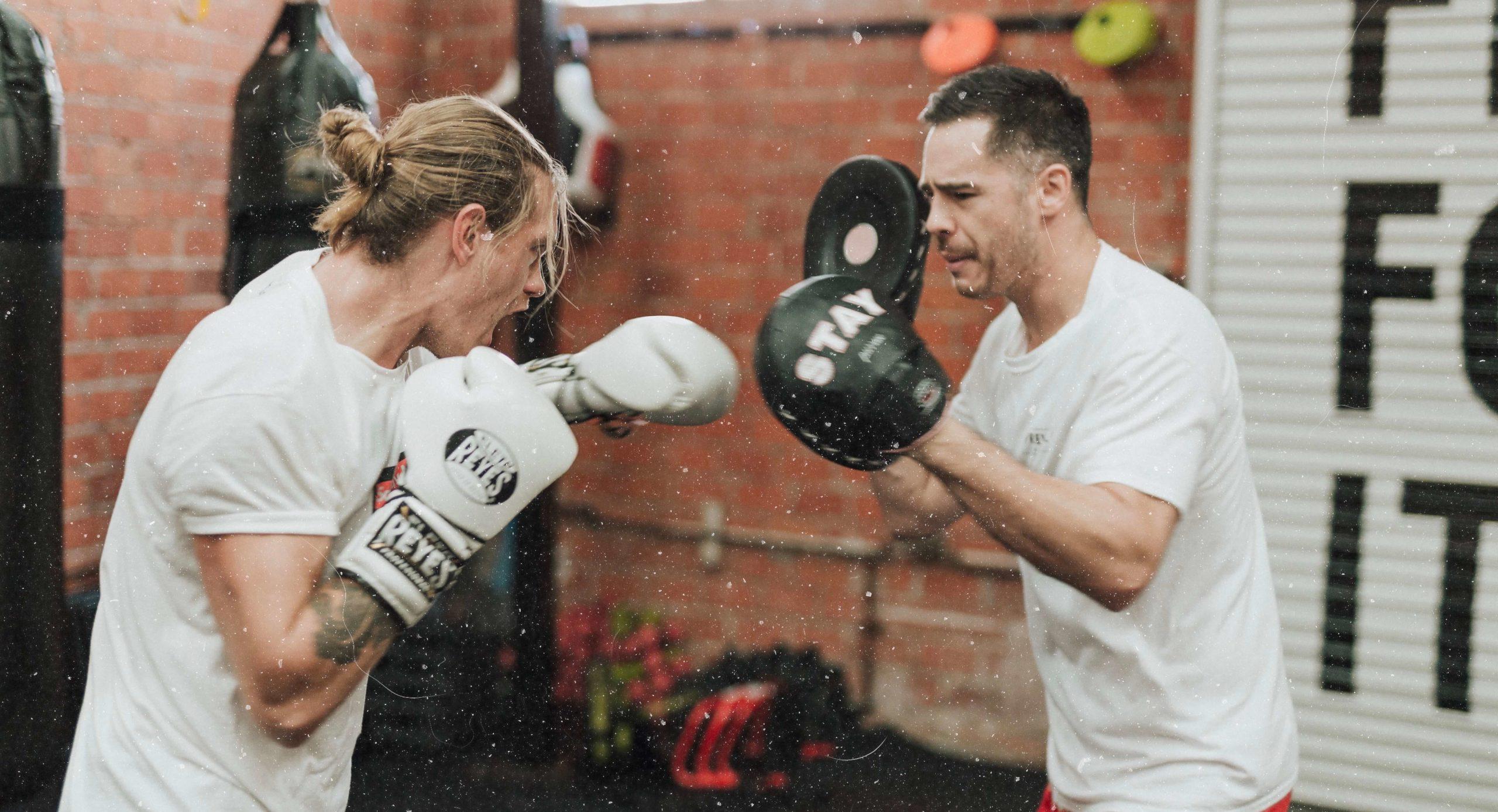 Zwei Boxer beim Training